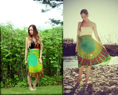 Mini Wrap Skirt Peacock Hippie Skirt Cover-Up Boho by Cloud9Jewels