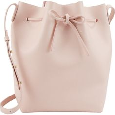 Mansur Gavriel Women's Saffiano Large Bucket Bag (2.040 BRL) ❤ liked on Polyvore featuring bags, handbags, shoulder bags, purses, bolsas, accessories, pink, drawstring bucket bag, leather purses and leather hand bags