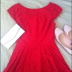 """I want this dress outta my closet ladies! ❤️ This gorgeous dress has only been worn once, and I am selling it because I'm 5'6"""" and this barely covers my bum! It's too short on me unfortunately, better on a 5'0"""" to 5'4"""" frame probably! However this dress is very flattering and great for any formal occasion! Graduation, wedding, dinner party, or a date! The lovely lace has a later of silky red underneath followed by tulle at the very bottom for pouff! Zipper closure, size 3/4, adorable cap…"""