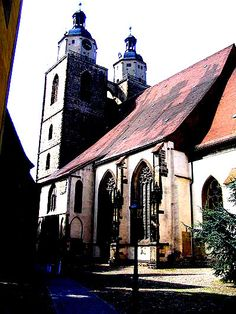 """Marien-Stadskerk""  Wittenberg. Driebeukige Hallenkerk ( 1412-1439)  Predikant: Dr. Johannes Bugenhage."