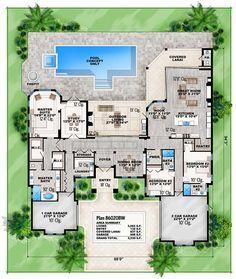 Florida House Plans, Coastal House Plans, Florida Home, South Florida, Best House Plans, Dream House Plans, House Floor Plans, Floor Layout, Open Layout
