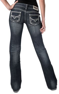 Rock & Roll Cowgirl® Women's Dark Stonewash with Thick Stitching Low Rise Boot Cut Jeans