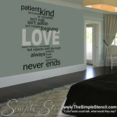 Love Is Patient Love is Kind I Corinthians Bible Verse Subway Style Wall Lettering Quotes Decal Art