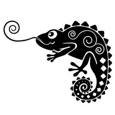 Sticker L zard Arte Tribal, Tribal Art, Cameleon Art, Tribal Drawings, Modern Wall Decals, Wood Burning Patterns, Silhouette Portrait, Gourd Art, Silhouette Cameo Projects