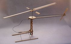 """Penni"" rubber band-powered helicopter with a belt-driven tail rotor for stability—just like a real helicopter. Designed in 1969 by John Burkam, a Boeing engineer."