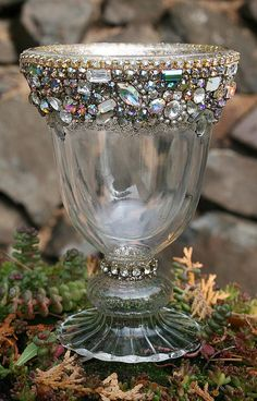 Bejeweled Vintage Rhinestones Chalice Candle Votive Holder - Queens Cup -TREASURY ITEM Bejeweled Vintage Rhinestones Chalice Candle nice item to try and make Bottle Art, Bottle Crafts, Vintage Jewelry Crafts, Jewelry Tree, Jewelry Frames, Jewelry Accessories, Altered Bottles, Vintage Rhinestone, Costume Jewelry