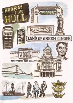 """"""" Hull, City of Culture 2017 by CJ Todd, my other half """" I was pleased to hear the new this morning that Hull had won the title of 'City of Culture' for I'm not sure of the value of naming. Kingston Upon Hull, Hull City, East Yorkshire, Illustrators, Art Gallery, Old Things, England, Culture, History"""