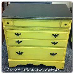 Yellow Dresser Painted Dresser Cottage Country Style  LauraDesignsShop@Etsy.Com LunarInteriorDesigns.Com