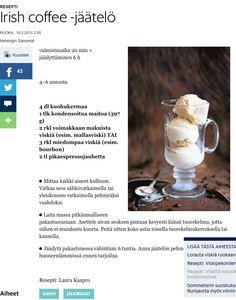 Irish Coffee -jäätelö | Hs.fi (tässä kuvana, koska linkittäminen ei onnistunut)