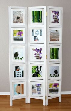 Photo Frame Screen - This seems to be a great way to divide a section of a room (The screen width is 93cm) and also a lovely way to display photos. #Home #Decor