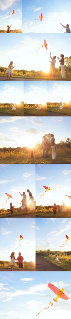 Family session - flying kites...  LOVE this!!