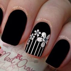 Black and White Floral Nail Art With Rhinestones