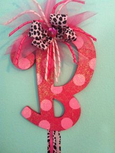 Glitter Initial Bow Holder $17...any letter or color, ribbon can be any color or pattern you want. I can also make it to hold headbands. http://www.facebook.com/HMHBoutique