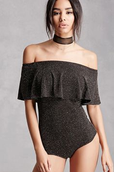 A knit cheeky bodysuit featuring a metallic shimmer, an elasticized off-the-shoulder neckline, a flounce layer, short sleeves, and a dual snap-button closure. This is an independent brand and not a Forever 21 branded item.