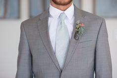 coastal wedding, grey suit, succulent wedding flowers, succulent boutineer, tiffany blue tie