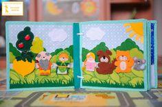 """2. Страничка """"Репка""""  Персонажи сказки на липучке, можно также использовать для игры в настольный театр. За деревом божья коровка спряталась. У солнышка можно перебирать пальчиками лучики, считаем яблочки на дереве)"""