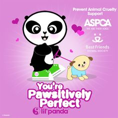You're Pawsitively Perfect. Animal lover. ASPCA http://lilpandablog.blogspot.com/