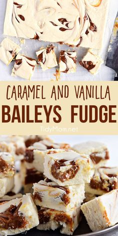 boozed up Baileys Fudge Recipe has the perfect balance of vanilla bean and Irish cream with a sweet caramel swirled in! This vanilla fudge is easy to prepare and turns out super creamy. Print the full recipe at via Baileys Fudge, Baileys Recipes, Oreo Fudge, Caramel Recipes, Fudge Recipes, Candy Recipes, Dessert Recipes, Dinner Recipes, Desserts