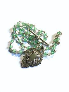 Long Lariat Necklace, Aventurine Necklace, Long Boho Necklace, Keepsake Gift, Medal Necklace, Watch Fob, Silver Fob Necklace, UK Shop