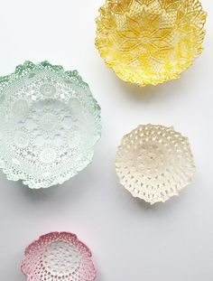 DIY Room Decor:  Lace Doily Bowl Tutorial - these would great for storage or up on the wall as art!