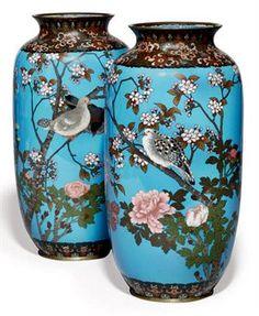 A pair of cloisonne vases ,Meijii period