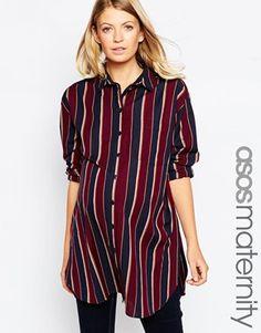ASOS Maternity Longline Boyfriend Shirt In Stripe