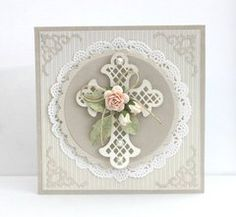 handmade baptism card from Pojjo's Gallery ... soft neutrals ... diecut cross and arificial flowers ... lovely ...