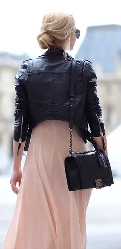 Blush + black. That black leather jacket on fleek... pastel maxi and true leather is gorgeous for the end of summer