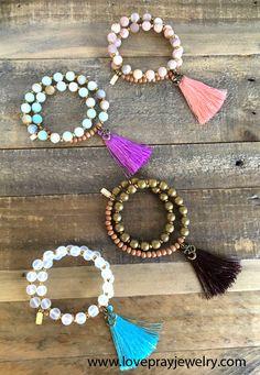 NEW! Matte genuine gemstone, tiny faceted hematite, and sandalwood, with optional silk tassel. 27 bead wrist mala bracelets. #malas #wristmala