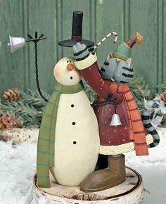 Cat Putting Hat on Snowman Figurine – Christmas Folk Art & Holiday Collectibles – Williraye Studio $25.00