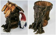 Turn a tin can into a tree for a fairy house :) fake bark dried and painted