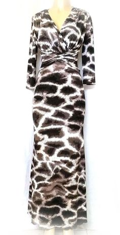 Roberto Cavalli Dress Leopard Animal Print Abstract Maxi Jersey 3/4 Sleev 42 6 8 #RobertoCavalli #MaxiDress #Any