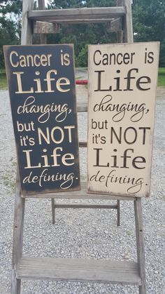 "Custom Carved Wooden Sign - ""Cancer Is Life Changing, But It's Not Life Defining"" by HayleesCloset on Etsy"