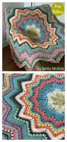Crochet Ripple Afghan, Crochet Square Blanket, Crochet Bedspread Pattern, Granny Square Crochet Pattern, Afghan Crochet Patterns, Crochet Motif, Free Crochet Square, Crocheted Afghans, Crochet Crafts