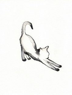 Stretching Cat Tattoo for on my foot / watercolor print / grey / Cat / Minimal black and white Beautiful Tattoos, Cool Tattoos, Tatoos, Small Tattoos, Black Cat Tattoos, Ankle Tattoos, Arrow Tattoos, Temporary Tattoos, Animals Watercolor