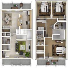 NSA JRB New Orleans – Belle Chasse Neighborhood: 3 bedroom 2.5 Bath home floor plan.