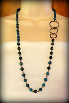 Blue Sky Jasper Necklace with Oval RIngs by byBrendaElaine on Etsy, $32.00