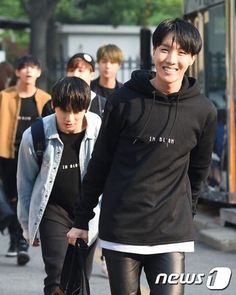 "JHOPE( Jungkook is behind him acting like a ninja thinking to himself....""Here I come, me going to kill you!"")"