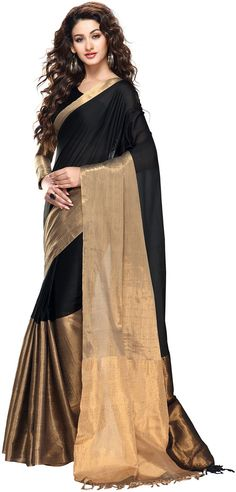 Tg Shoppers Plain Fashion Cotton Sari