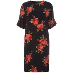 Dorothy Perkins **Tall Red Rose Print Shift Dress (72 CAD) ❤ liked on Polyvore featuring dresses, red, red sleeve dress, red rose print dress, rayon dress, shift dress and rose print dresses