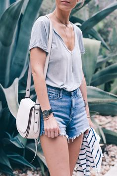 High Rise Jean Shorts Vintage Tee Prosecco & PLaid-3