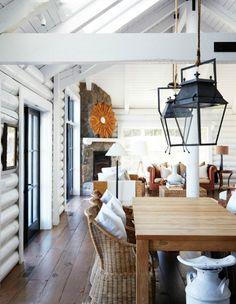 My Sweet Savannah: ~painted log interiors~ Love the floors!