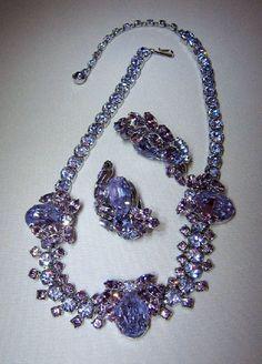 Sherman Faux Alexandrite Necklace Earrings Silvertone Setting