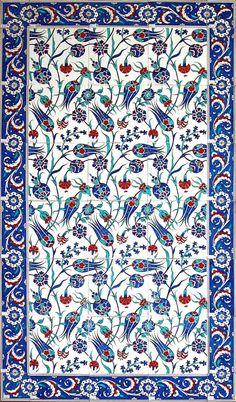 turkish_tile_art_serbet_laleler_b. - Art and Literature Turkish Tiles, Turkish Art, Portuguese Tiles, Tile Patterns, Pattern Art, Flower Patterns, Pattern Design, Turkish Pattern, Art Du Monde