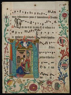 Leaf from an Antiphoner with historiated initial H        Object:        Manuscript      Place of origin:        Mainz, Germany (illuminated)      Date:        1490 (illuminated)      Artist/Maker:        Unknown (production)      Materials and Techniques:        Water-based pigments, gilding and ink on parchment