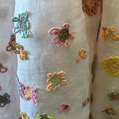 pommeshop: floating flowers on fine linen scarf by Sophie Digard .... one only!