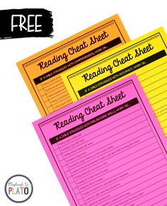 These free reading cheat sheets are so helpful for lesson planning! TONS of ideas for teaching reading fluency, reading comprehension... even pre-reading skills!  #teachingreading #readingteacher #firstgrade #kindergarten #prek #learningtoread #teachingtools