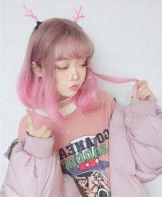 Pink in 2019 moda kawaii, ropa kawaii, peinado ulzzang. Mode Kawaii, Kawaii Girl, Kawaii Hairstyles, Cute Hairstyles, Drawing Hairstyles, Harajuku Fashion, Kawaii Fashion, Fashion Outfits, Cute Korean Girl