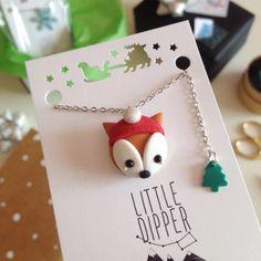 Volpe collana gioielli dell'argilla del di LittleDipperShop