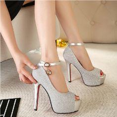 Ultra high heels princess platform thin heels women pumps shoes sexy open toe sandals wedding shoes US $22.85